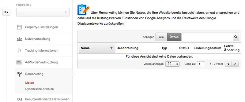 Remarketinglisten in Google Analytics